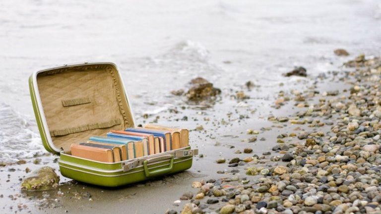 valigia libri mare