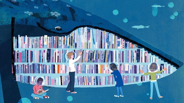 balena libreria illustrazione