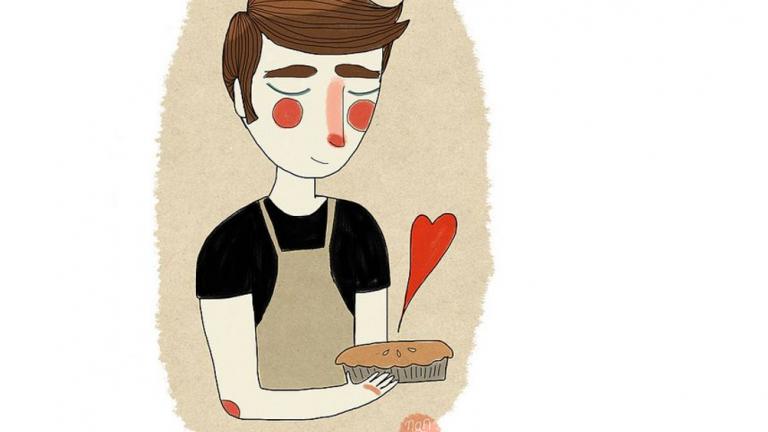illustrazione ragazzo torta cuore cucina amore